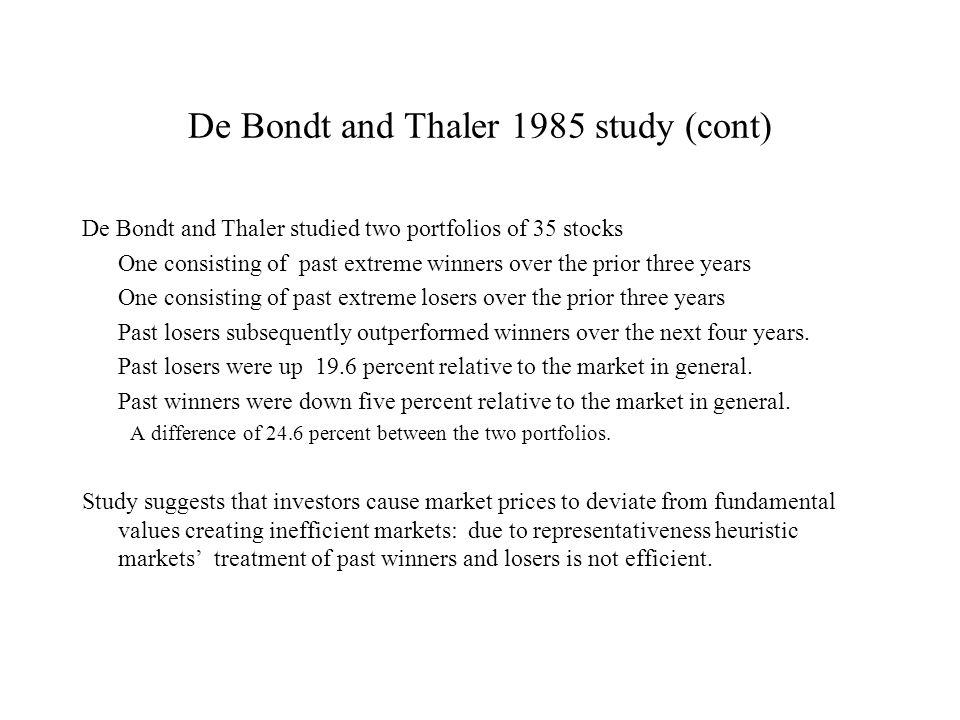 De Bondt and Thaler 1985 study (cont)