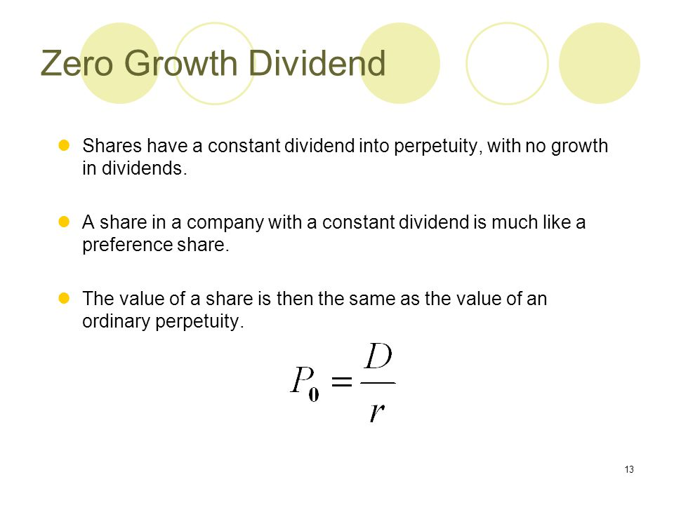 Zero Growth Dividend Shares have a constant dividend into perpetuity, with no growth in dividends.