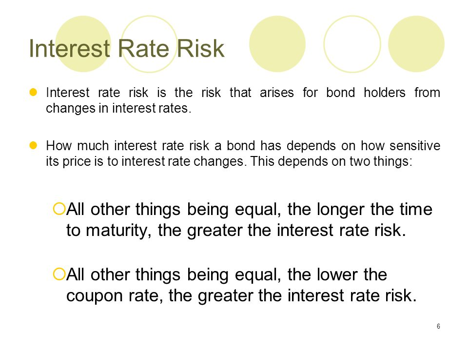 Interest Rate Risk Interest rate risk is the risk that arises for bond holders from changes in interest rates.