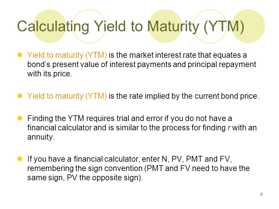 Calculating Yield to Maturity (YTM)