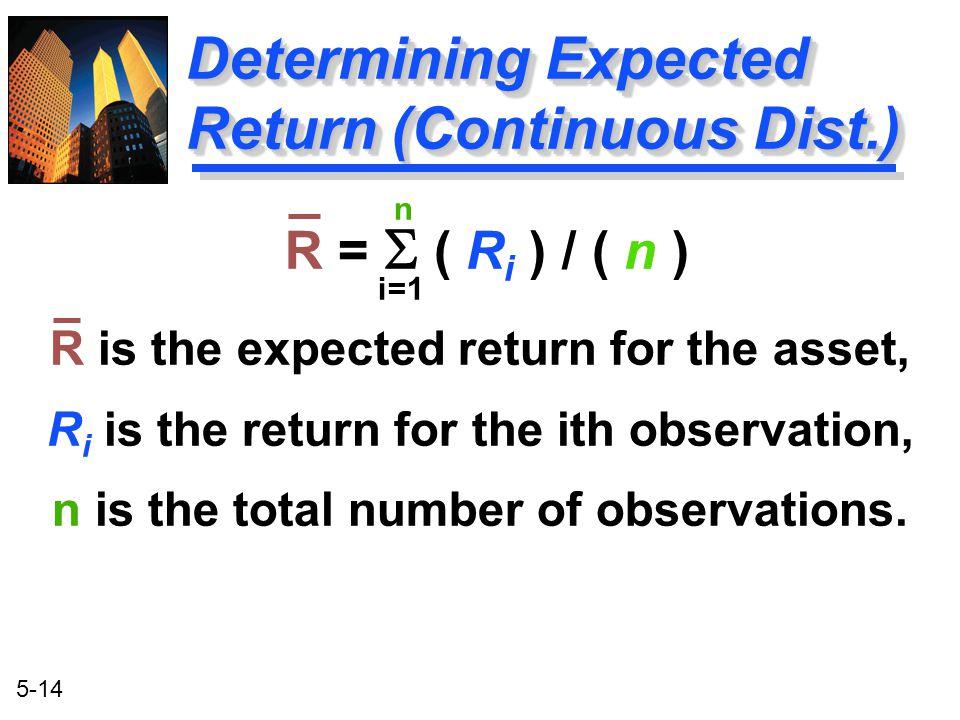 Determining Expected Return (Continuous Dist.)