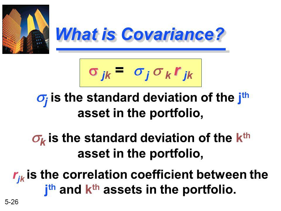 What is Covariance s jk = s j s k r jk