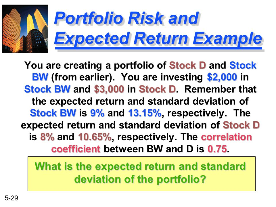Portfolio Risk and Expected Return Example