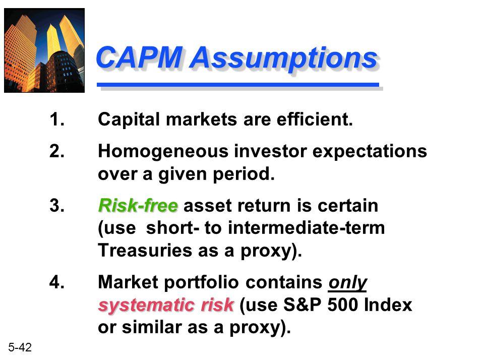 CAPM Assumptions 1. Capital markets are efficient.