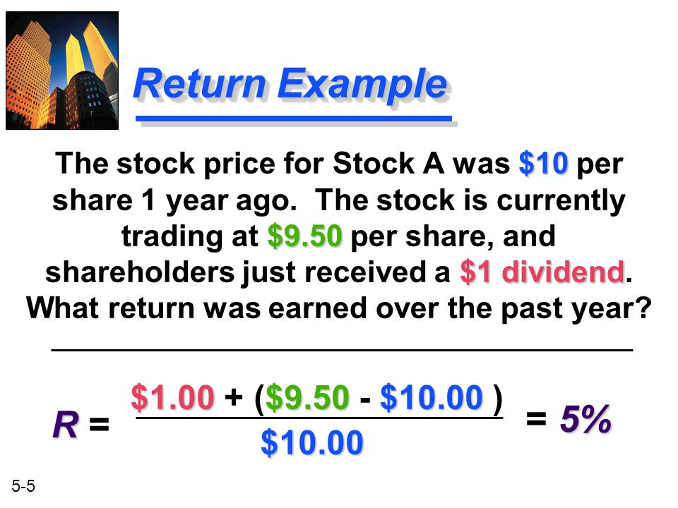Return Example = 5% R = $1.00 + ($9.50 - $10.00 ) $10.00