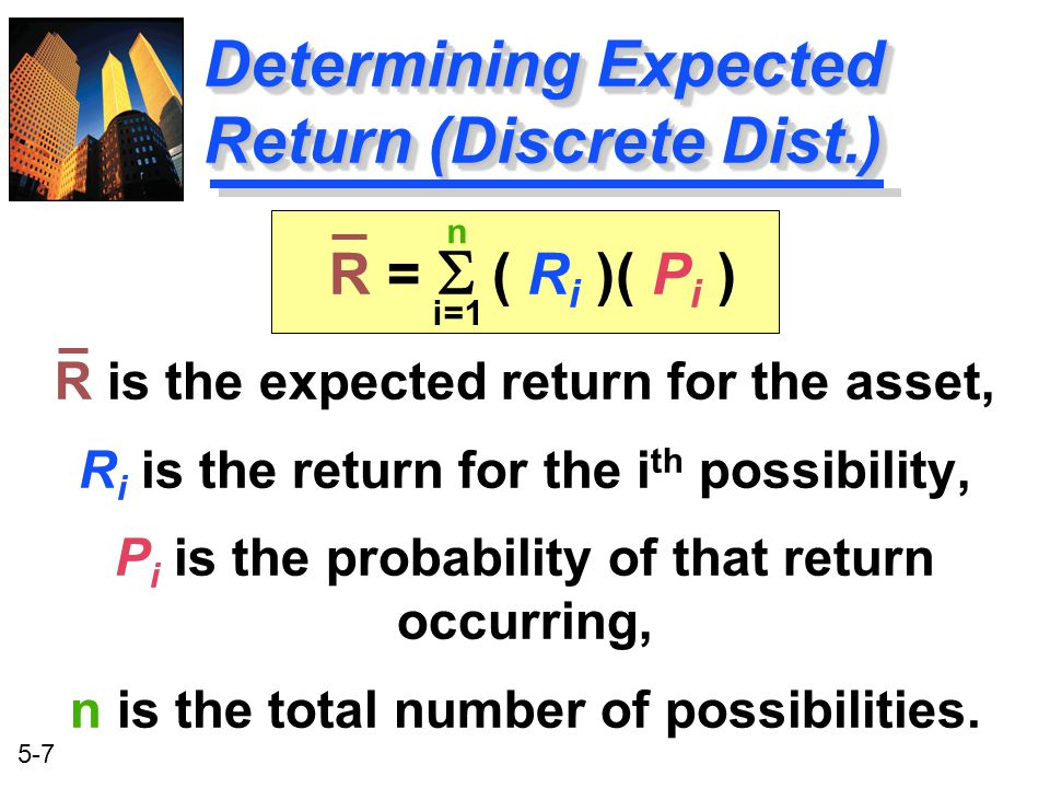 Determining Expected Return (Discrete Dist.)