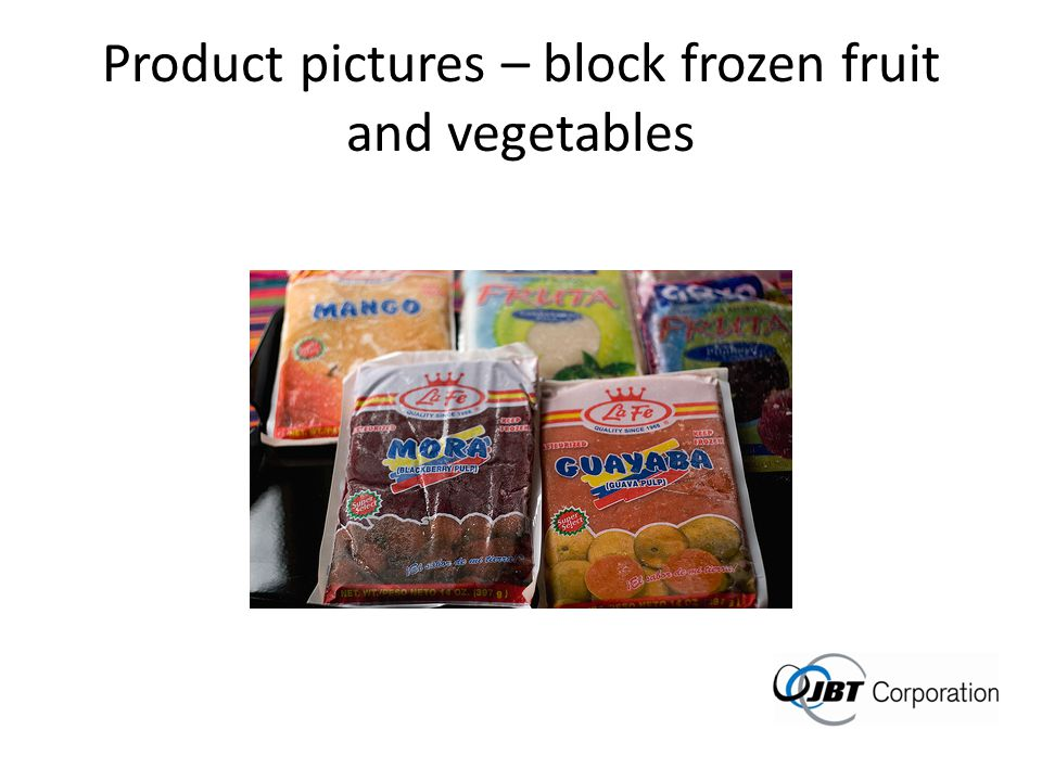 Product pictures – block frozen fruit and vegetables