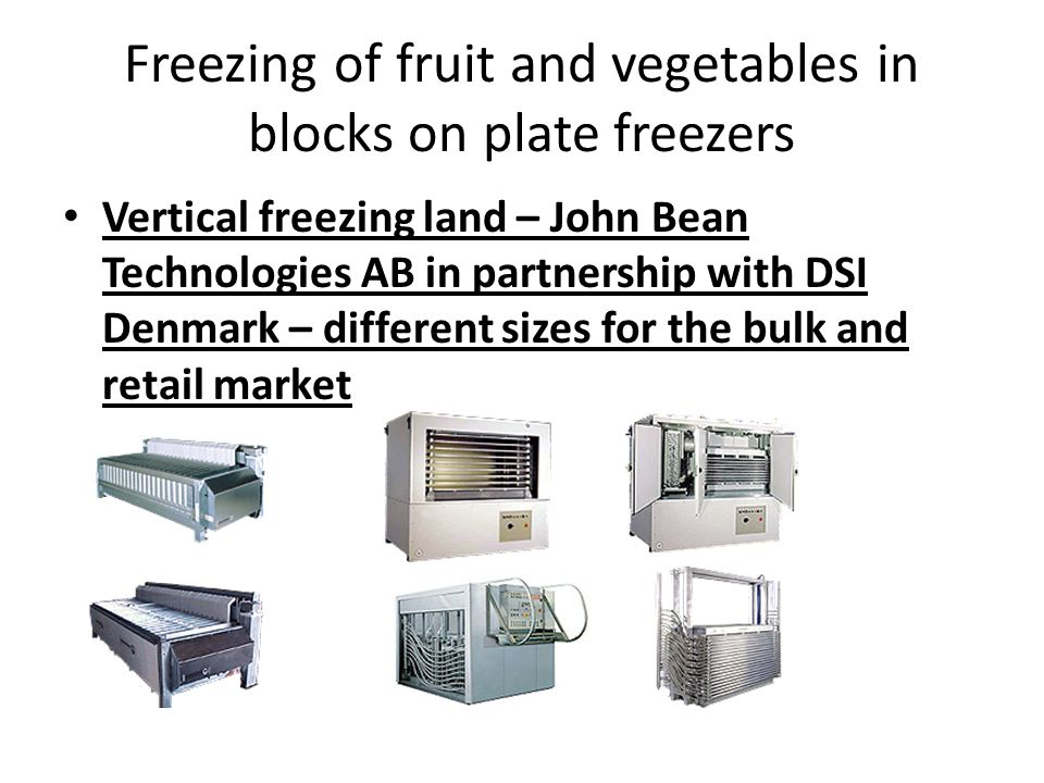 Freezing of fruit and vegetables in blocks on plate freezers