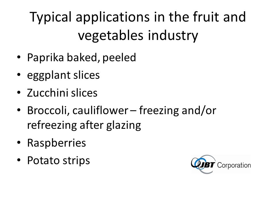 Typical applications in the fruit and vegetables industry