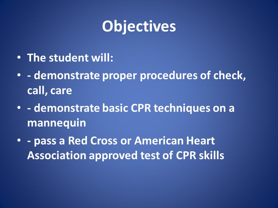 Objectives The student will: