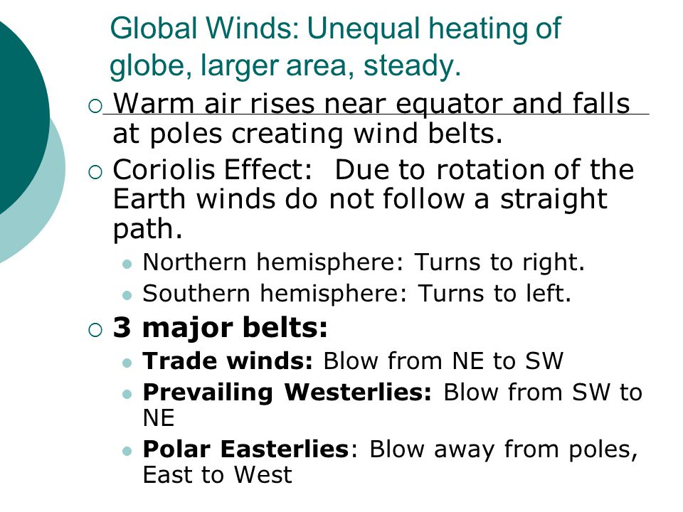Global Winds: Unequal heating of globe, larger area, steady.