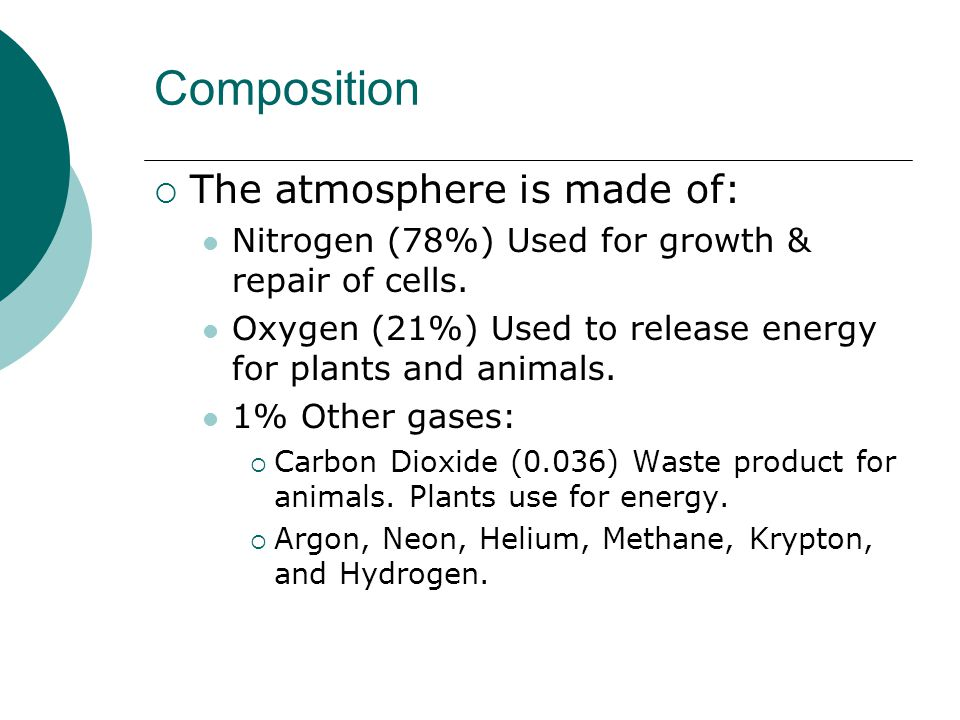 Composition The atmosphere is made of: