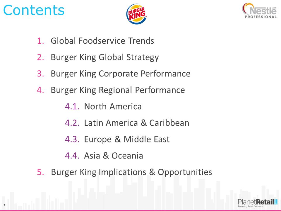Contents Global Foodservice Trends Burger King Global Strategy