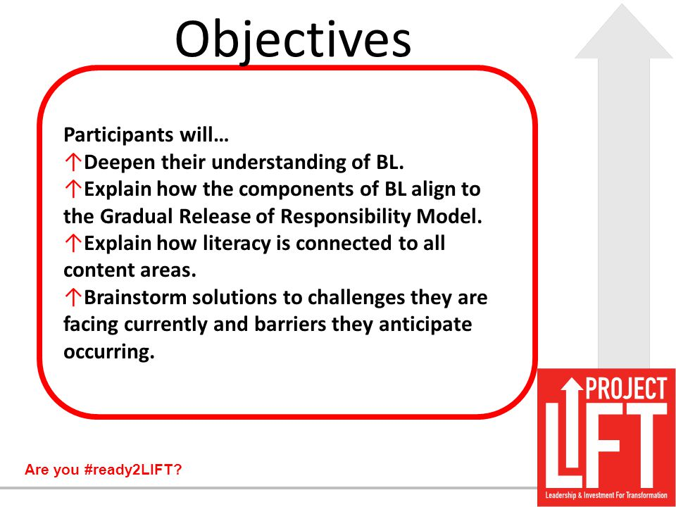 Objectives Participants will… Deepen their understanding of BL.