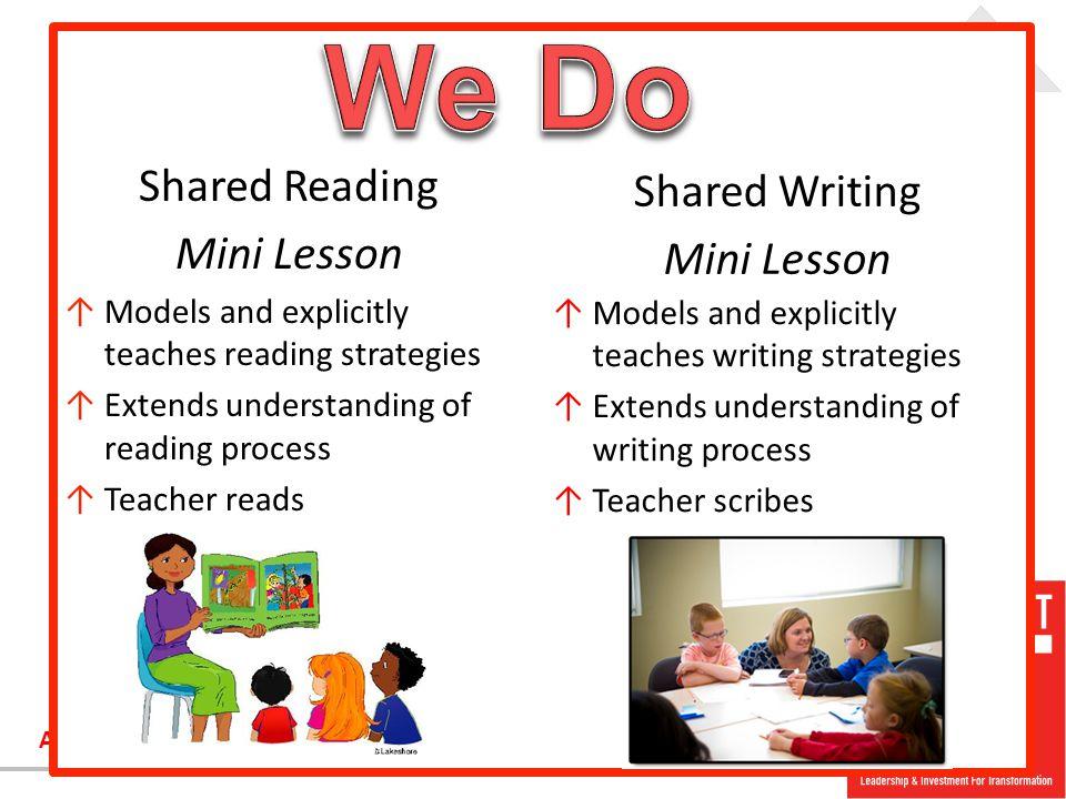 We Do Shared Reading Shared Writing Mini Lesson Mini Lesson
