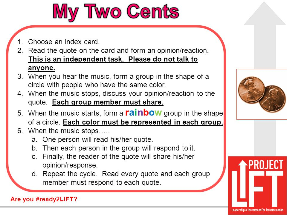 My Two Cents Choose an index card.