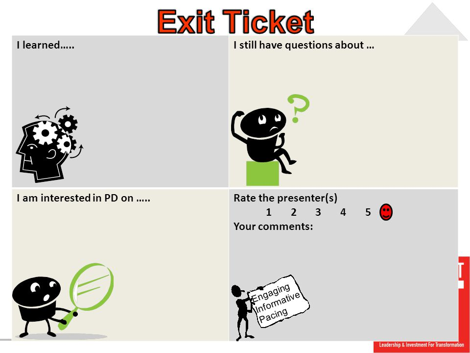 Exit Ticket I learned….. I still have questions about …