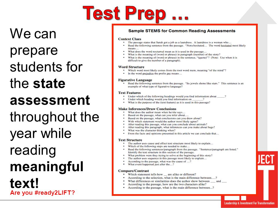 Test Prep … We can prepare students for the state assessment