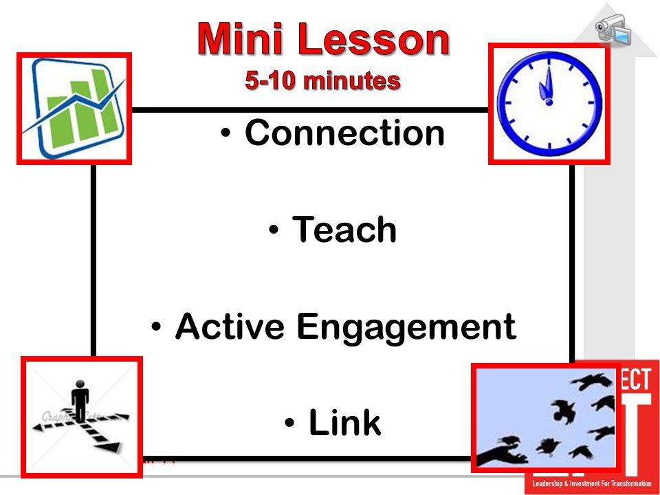 Mini Lesson 5-10 minutes Connection Teach Active Engagement Link