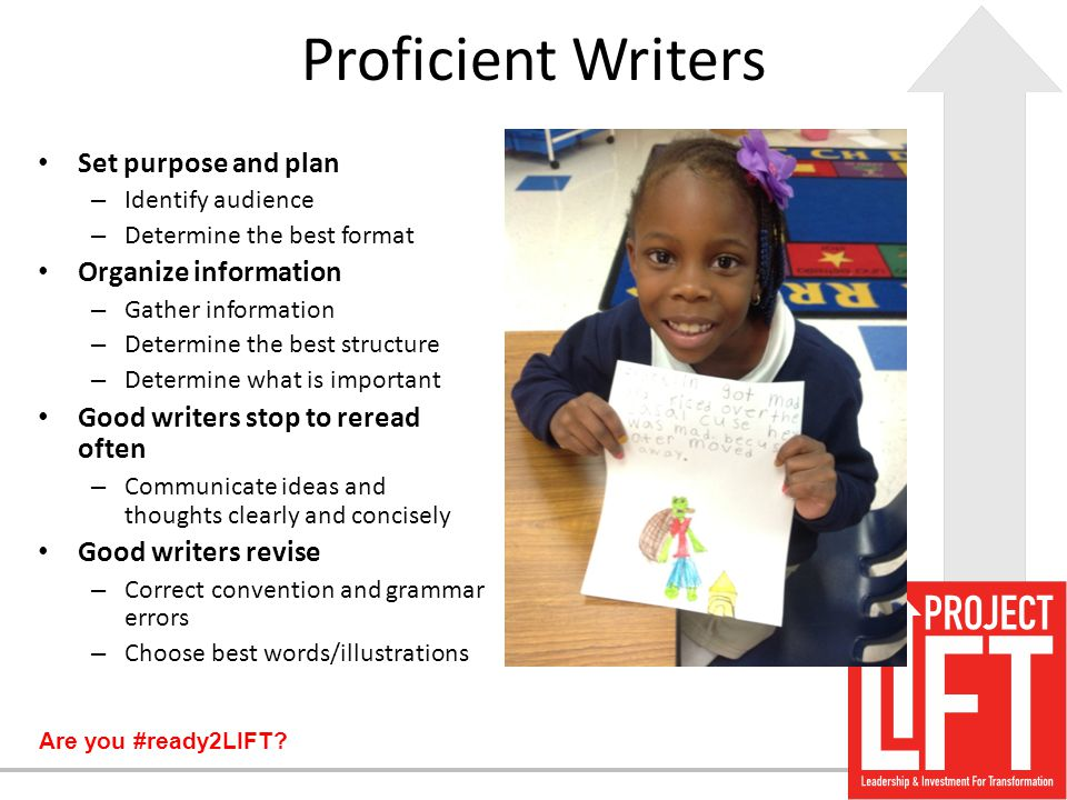 Proficient Writers Set purpose and plan Organize information