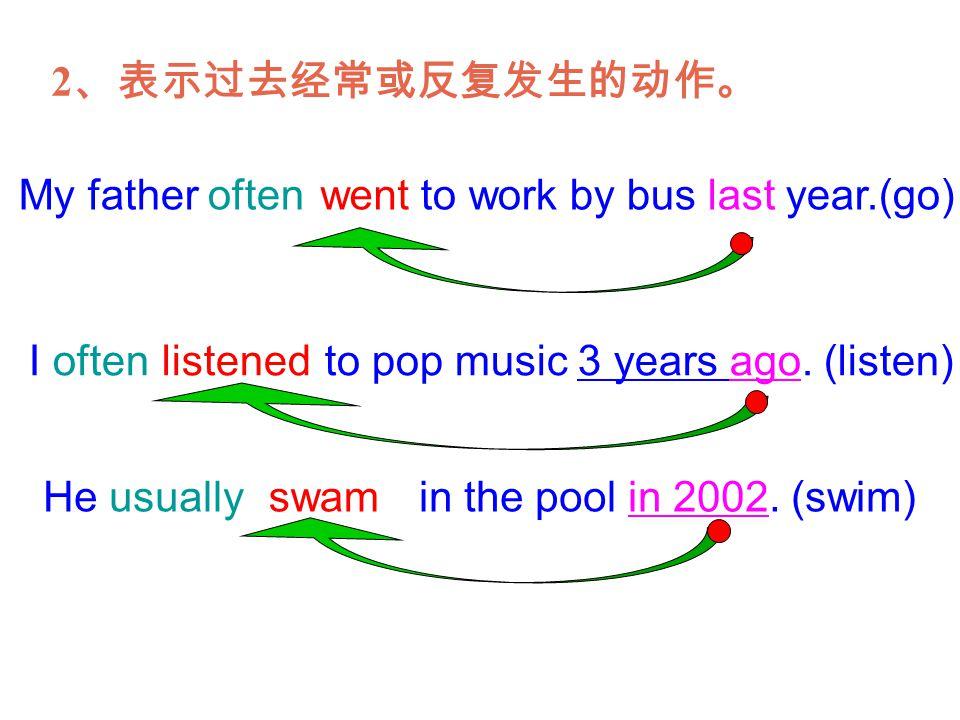2、表示过去经常或反复发生的动作。 My father often to work by bus last year.(go) went. I often to pop music 3 years ago. (listen)