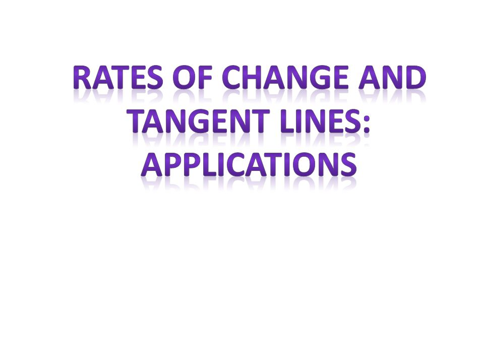Rates of change and Tangent lines: Applications