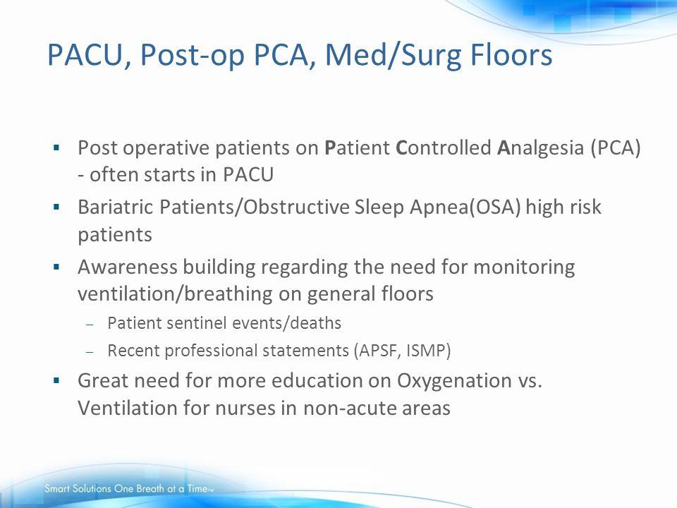 PACU, Post-op PCA, Med/Surg Floors