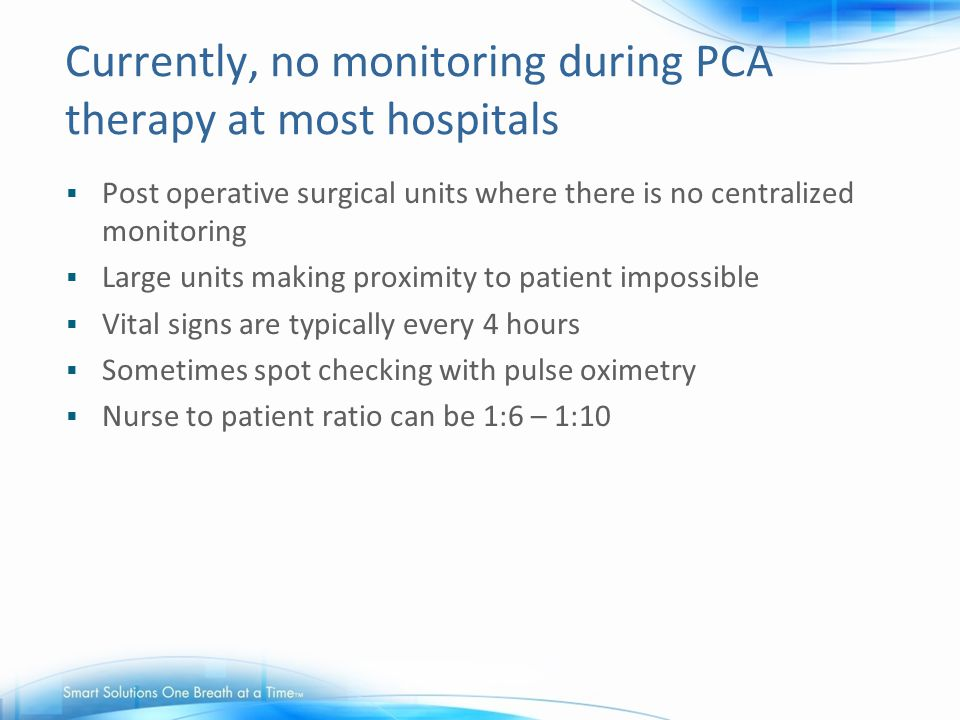 Currently, no monitoring during PCA therapy at most hospitals