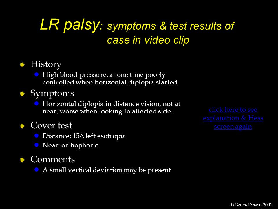 LR palsy: symptoms & test results of case in video clip