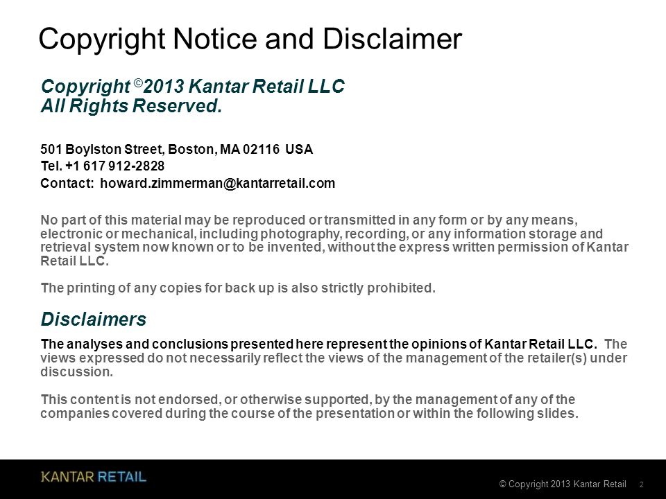 Copyright Notice and Disclaimer
