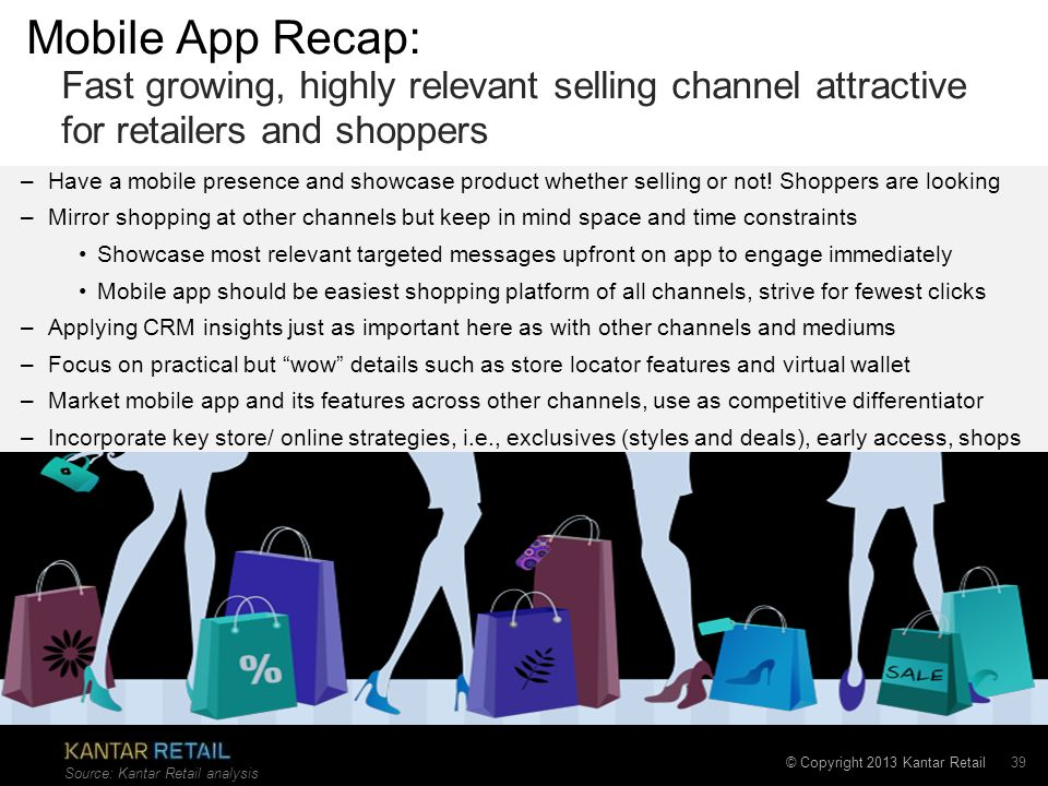 Mobile App Recap: Fast growing, highly relevant selling channel attractive for retailers and shoppers.