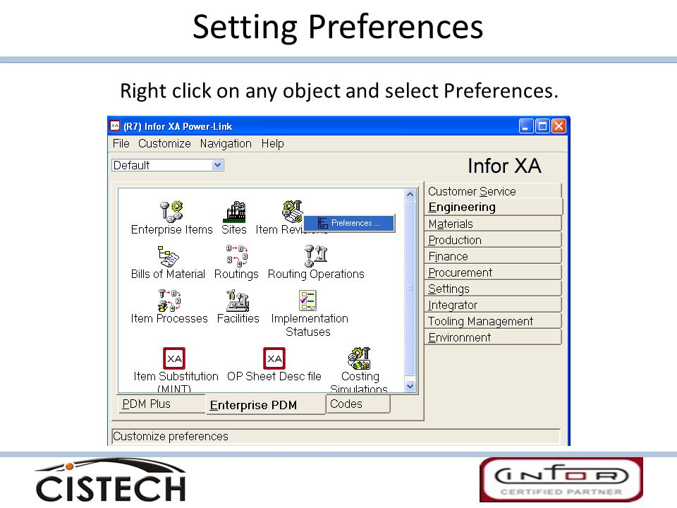 Setting Preferences Right click on any object and select Preferences.