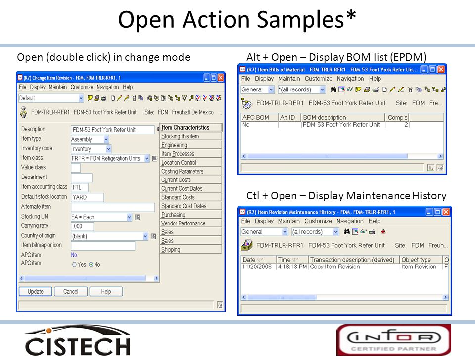 Open Action Samples* Open (double click) in change mode