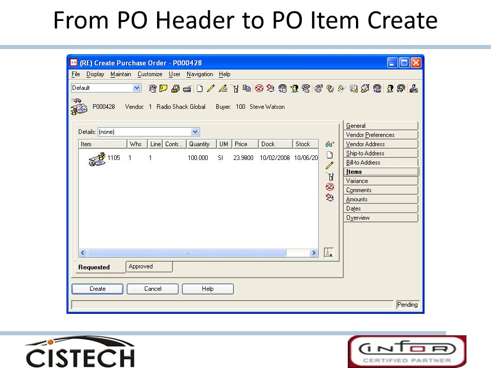 From PO Header to PO Item Create