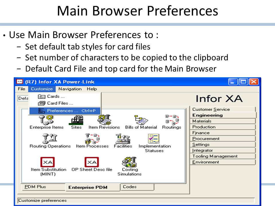Main Browser Preferences