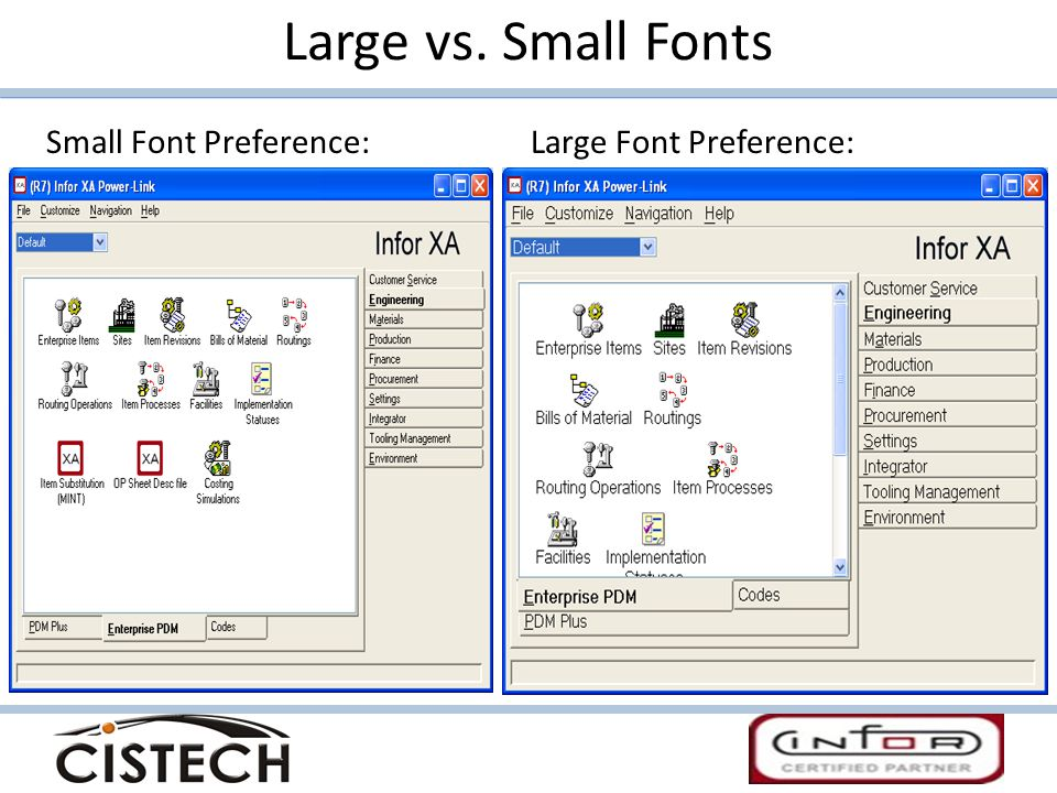 Large vs. Small Fonts Small Font Preference: Large Font Preference: