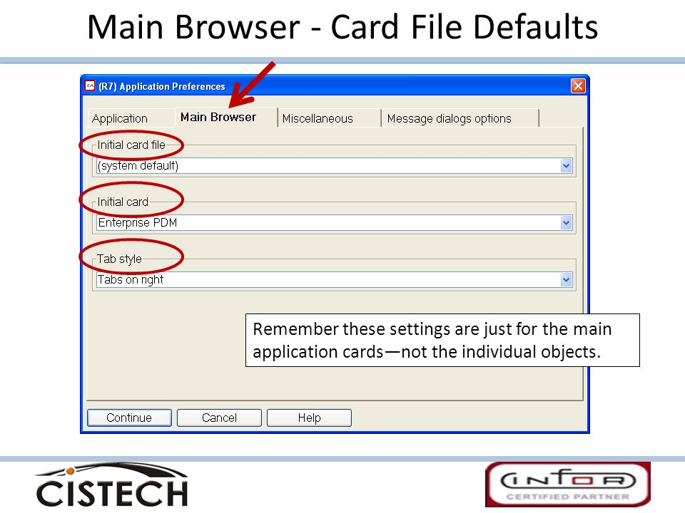Main Browser - Card File Defaults