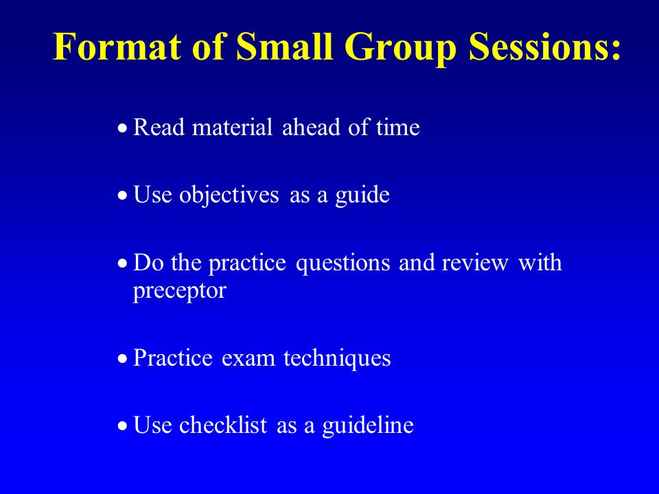 Format of Small Group Sessions: