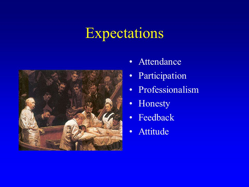 Expectations Attendance Participation Professionalism Honesty Feedback