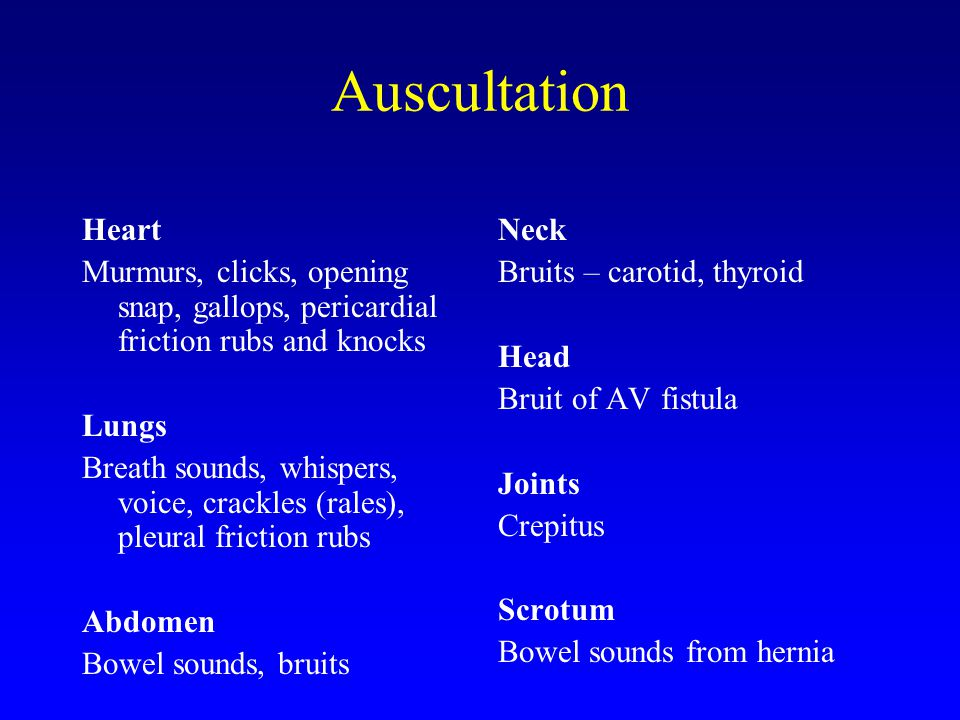 Auscultation Heart. Murmurs, clicks, opening snap, gallops, pericardial friction rubs and knocks.