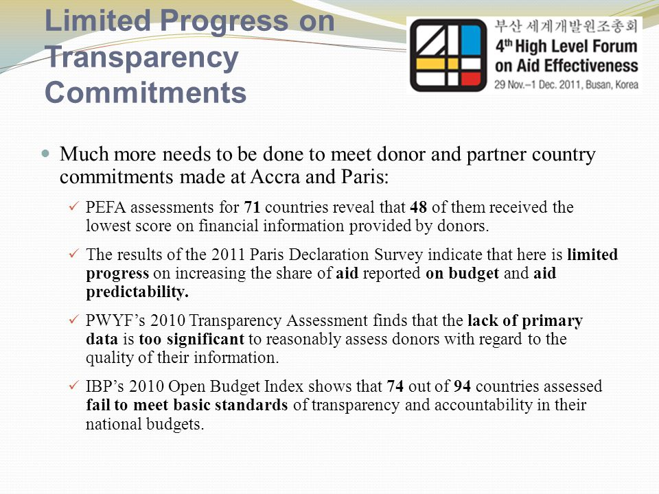 Limited Progress on Transparency Commitments