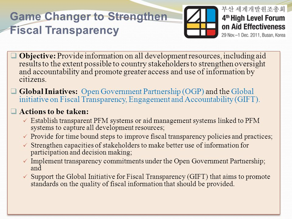 Game Changer to Strengthen Fiscal Transparency