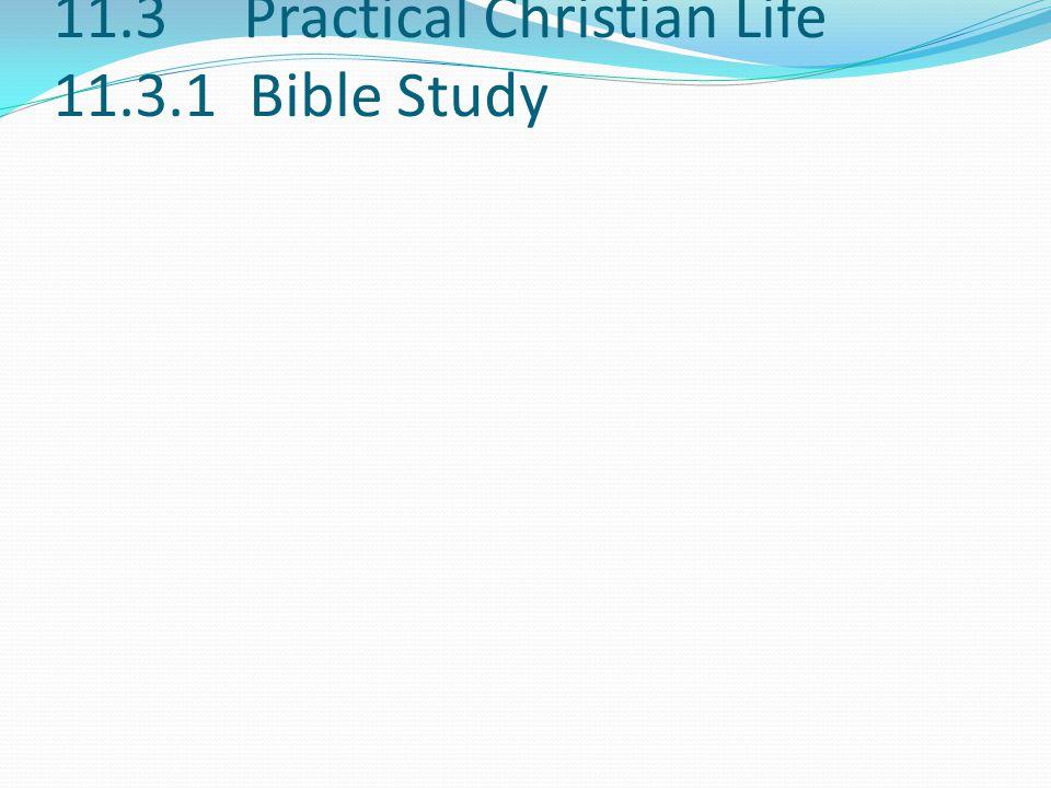 11.3 Practical Christian Life 11.3.1 Bible Study