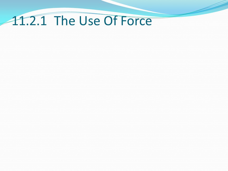 11.2.1 The Use Of Force