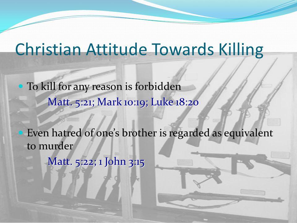 Christian Attitude Towards Killing