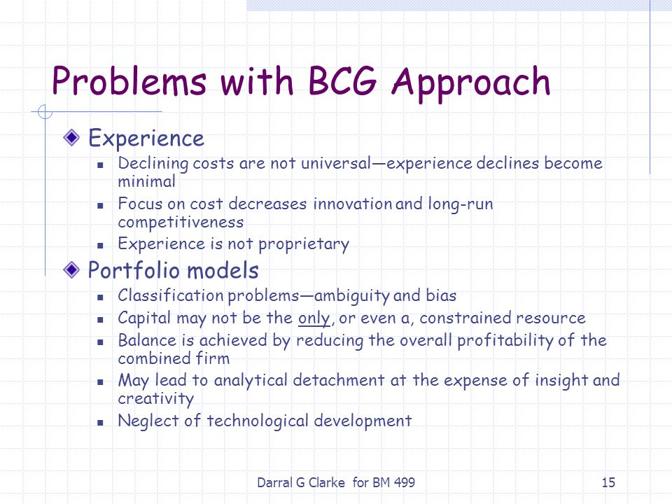 Problems with BCG Approach