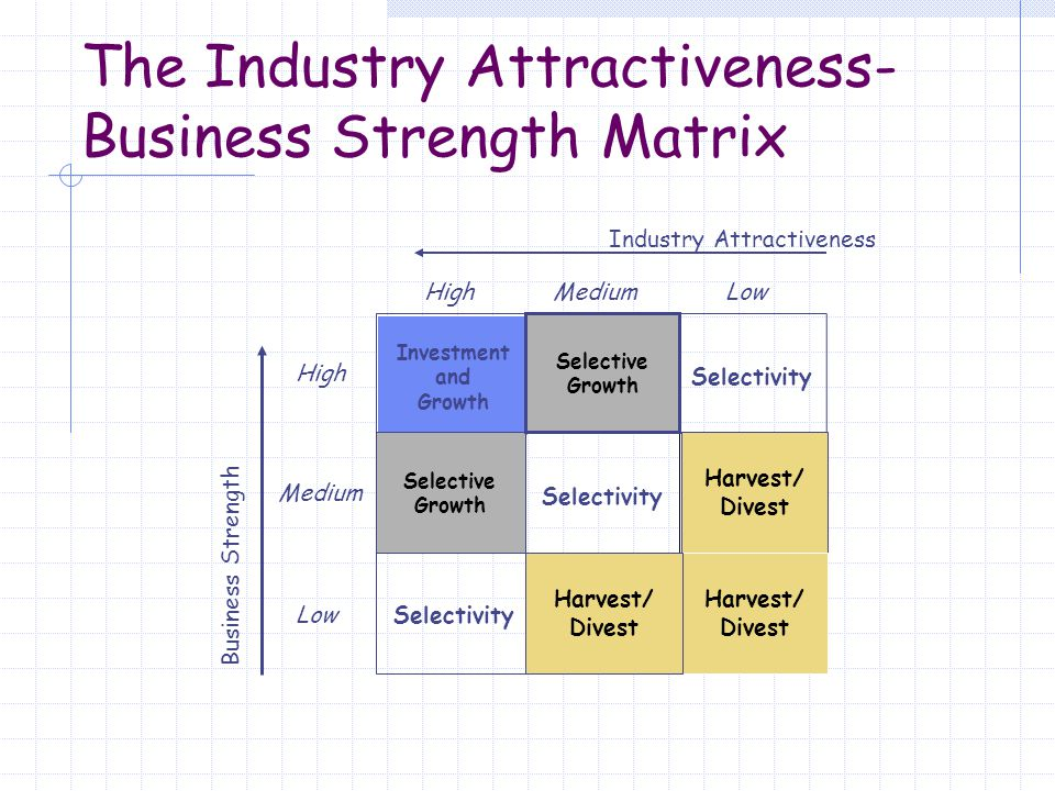 The Industry Attractiveness-Business Strength Matrix