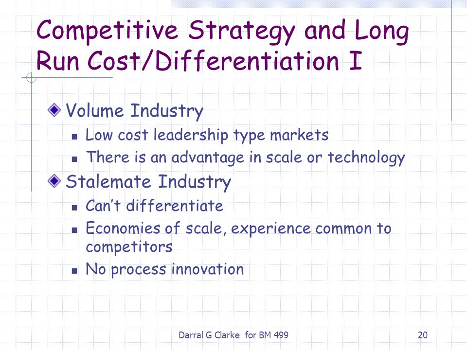 Competitive Strategy and Long Run Cost/Differentiation I