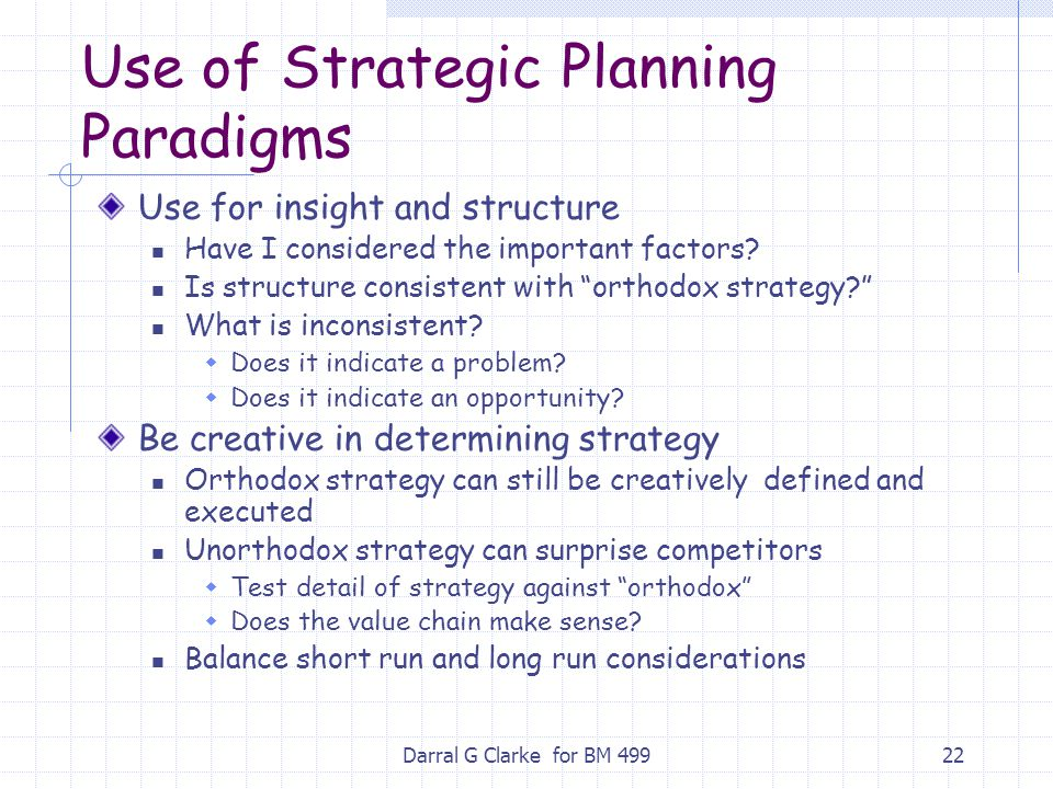 Use of Strategic Planning Paradigms