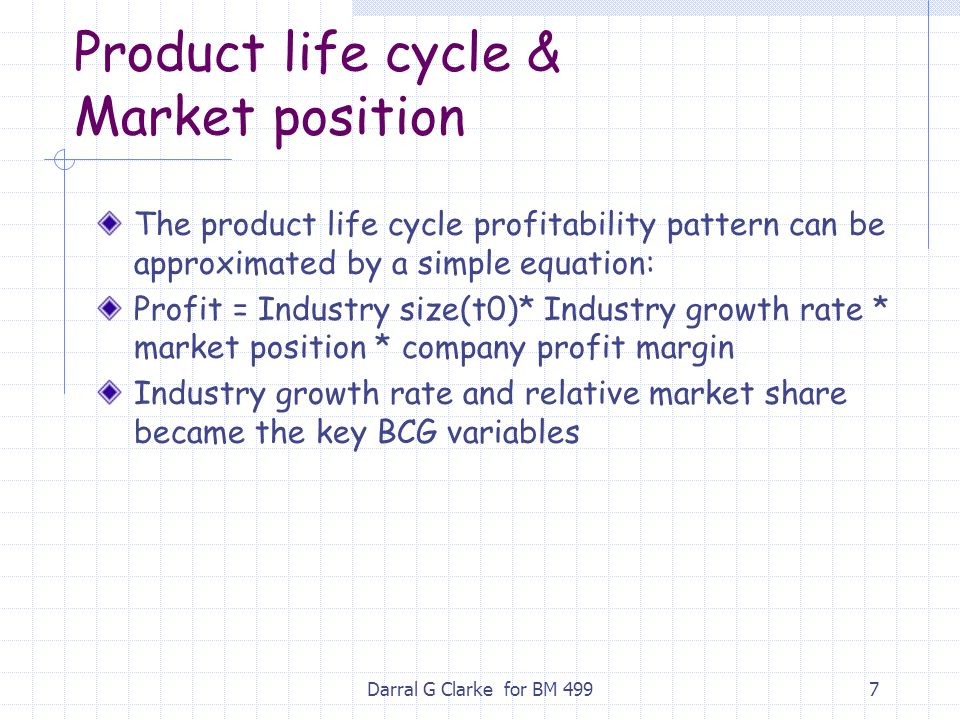 Product life cycle & Market position